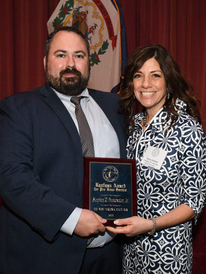 Steven Broadwater accepts award